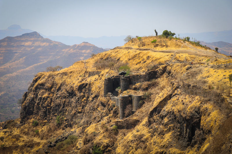Fossil Nature No People Extinct Mountain Outdoors Beauty In Nature Fortified Wall Fortress Sinhagad Pune India Fort