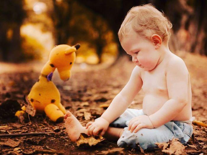 Cute Toddler Boy Sitting Near Yellow Toy On Field