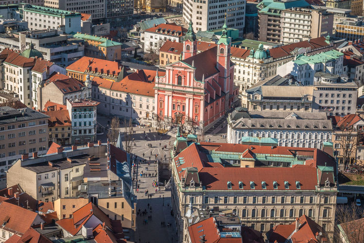 City of Ljubljana Church Ljubljana Ljubljana, Slovenia Architecture Building Exterior Built Structure City Cityscape Crowded Day Outdoors Residential Building Roof