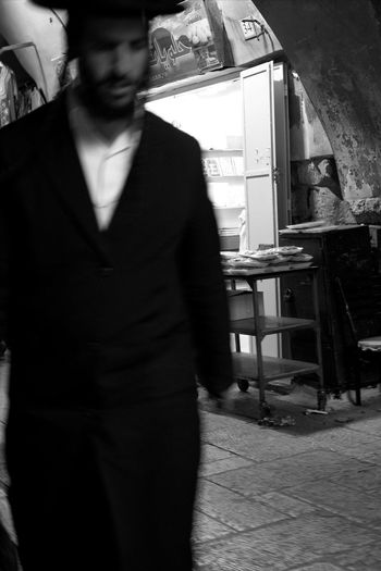 EyeEmReady EyeEmNewHere Jewish Walk Walking Around Blackandwhite Day Indoors  Israel Jerusalem Men One Person Orthodox People Real People Shop Standing Suq Walking Young Adult Young Men