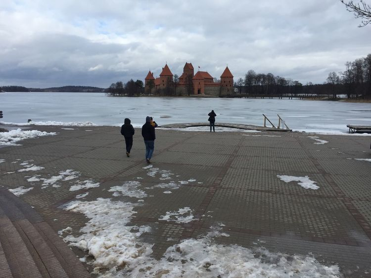 Trakai lake is covered with Ice. You can walk directly to the castle. Cold Lithuania. Amazing Architecture Castle City Life Cloud Cloud - Sky Day Lake Landscape Leisure Activity Lifestyles Lithuania Nature Outdoors Season  Shore Sky Tourism Tourist Trakai Travel Destinations Vacations Water Weather Wintertime