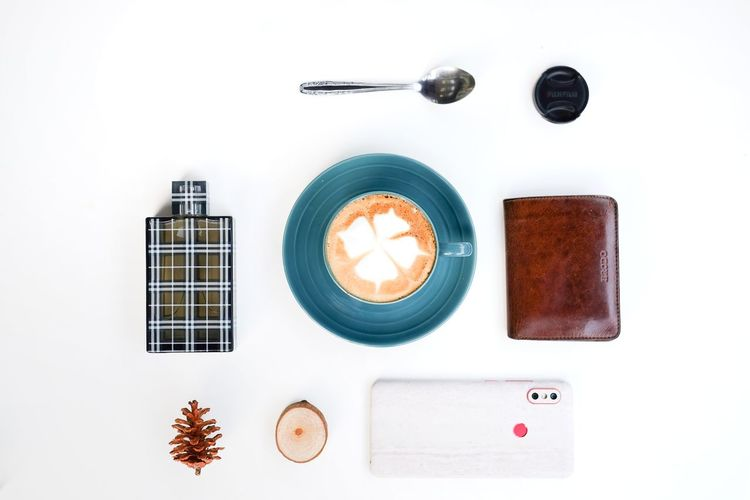 coffee at home Cappuccino Flat Lay Still Life Minimalism White Background Wireless Technology Directly Above Studio Shot High Angle View Table Close-up Sweet Food Served Froth Art Latte Coffee Foam