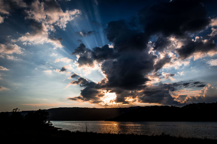 Beauty In Nature Cloud - Sky Environment Idyllic Lake Nature No People Non-urban Scene Outdoors Reflection Scenics - Nature Silhouette Sky Sunlight Sunset Tranquil Scene Tranquility Water