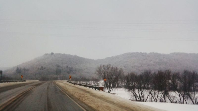 Snow Winter Cold Temperature Tree Landscape Road Nature Fog No People Forest Outdoors Beauty In Nature Mountain Scenics Day Snowing Winona, MN. Fine Art Photography