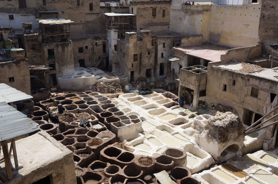 Apartment Architecture Arrangement Building Exterior Built Structure City Fes Heap High Angle View In A Row Laundry Messy No People Outdoors Residential Building Residential District Residential Structure Roof Rooftop Tanneries Tannery Town