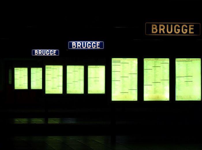 Illuminated signboards on railway station platform