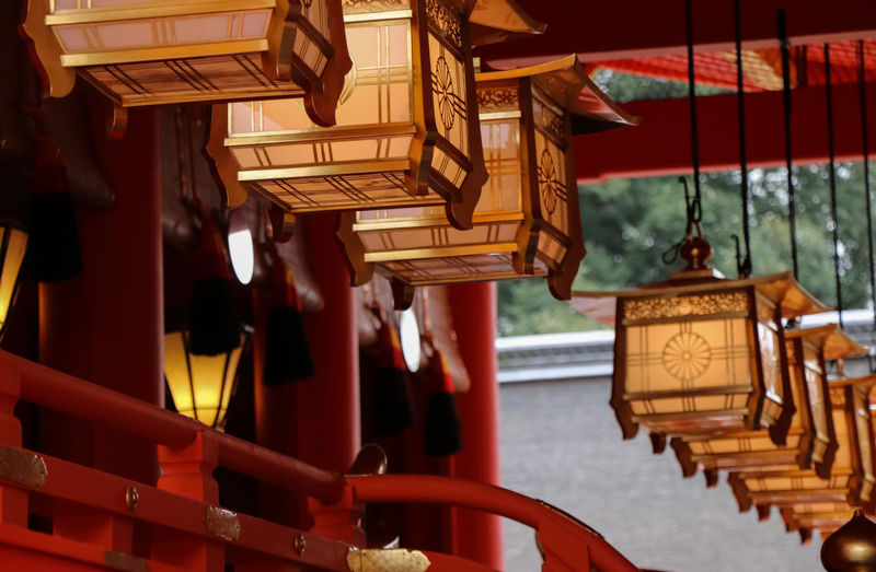 Lantern hanging outside temple