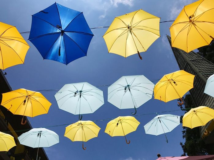 EyeEm Selects Umbrella Protection Rain Yellow Weather Safety Blue Crowd Outdoors Day People