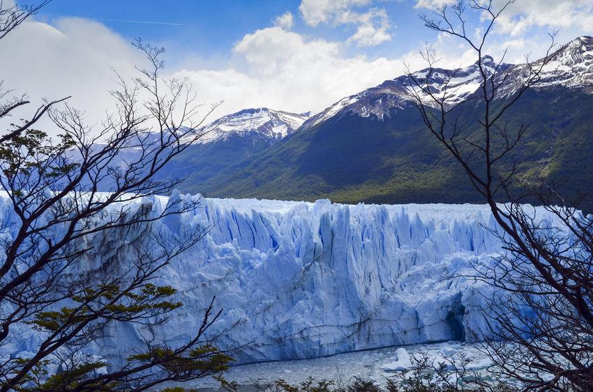 Blue Glaciar Inmensity Mountain Natural Beauty Perito Moreno Glacier Perito Moreno. Patagonia. Argentina. Scenics Sky And Clouds Tranquil Scene Tranquility Water