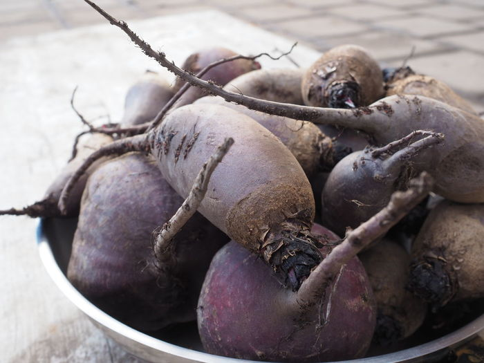 Close-up of beetroots in container