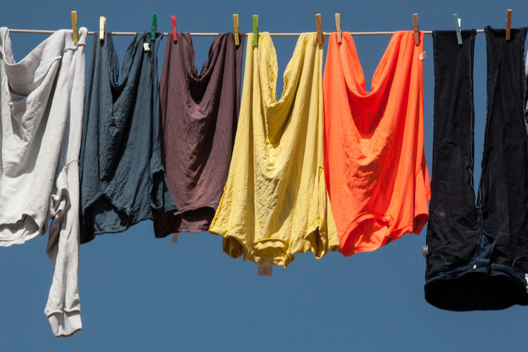 Clothes Clothesline Clothing Drying Hanging Laundry Linen Goods Multi Colored Outdoors Shirts Textile Variation Paint The Town Yellow