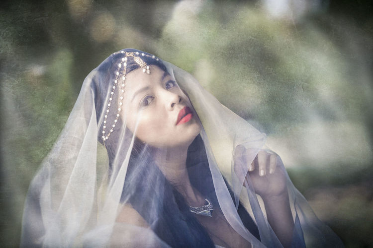 Portrait Of Beautiful Young Woman Wearing Veil