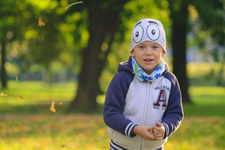 Boy on field at park