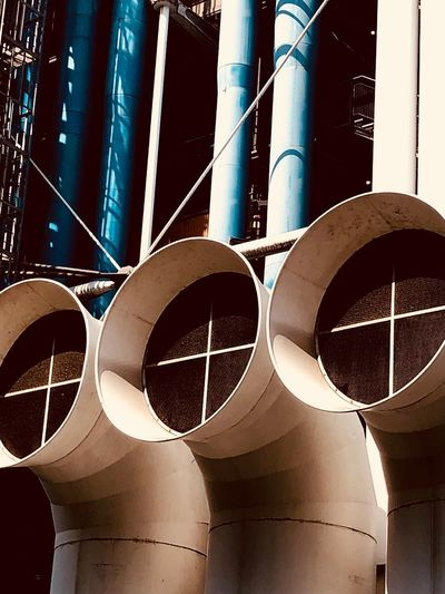 Avantguarde Paris Pompidou Center Pipe - Tube No People Day Sunlight Metal Outdoors Factory Architecture Built Structure Low Angle View