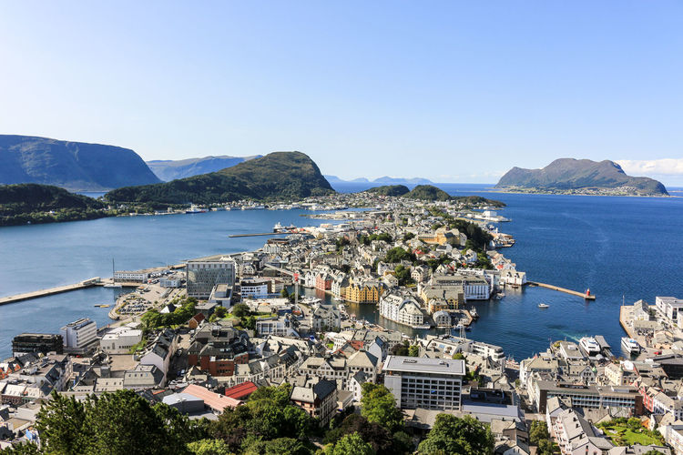 City Hurtigruten Jugendstil Norway Norway🇳🇴 View Alesund Architecture Bay Blue Building Built Structure City City View  Fjord Jugendstil Architecture Mountain Sea Sky Water Ålesund, Norway