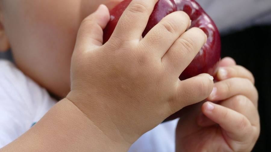 Adult Apple Apple With Kid Barefoot Bonding Care Childhood Close-up Day Human Body Part Human Hand Human Leg Indoors  Kid Hand  Low Section People Real People Togetherness Two People