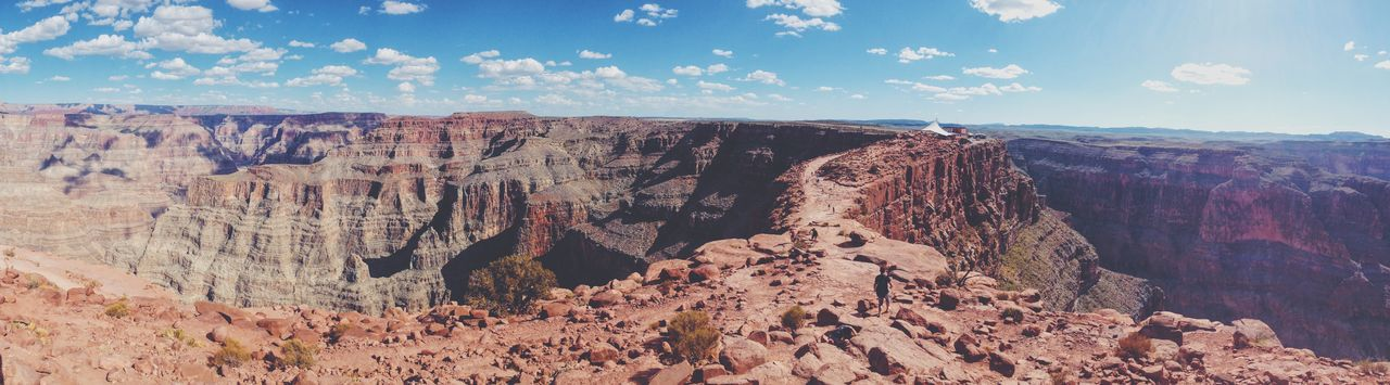 Beauty In Nature Canyon Clouds And Sky Grand Canyon Landscape Panorama Path Red Rocks  Red&blue Remote Scenics Sky The Great Outdoors With Adobe The Great Outdoors - 2016 EyeEm Awards Skywalk Eagle Point, Grand Canyon