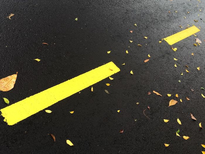 Yellow Street Road Marking High Angle View Road Leaf Guidance Change