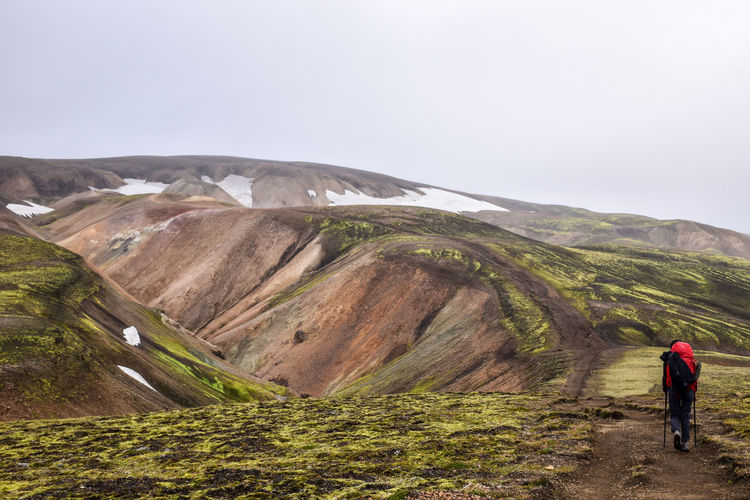 Landmannalaugar Trail, Iceland Adult Adults Only Beauty In Nature Day Full Length Hiking Iceland Landscape Mountain Nature One Person One Woman Only Outdoors People Scenics Trek Young Adult