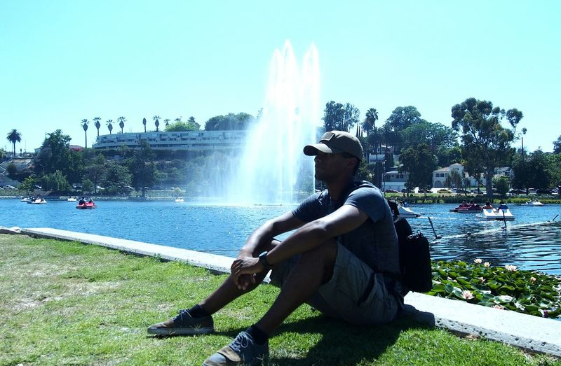 One Man Only Outdoors One Person Grass People Water La Losangeles City Of Angels Los Angeles, California People And Places Sunlight Day American Flag Military USAF America