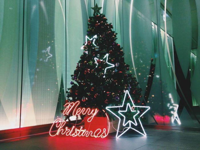Merry Christmas! Arts Culture And Entertainment Christmas Christmas Tree December Growth Holidays Leaf Merry Christmas! Neon Tokyo Xmas