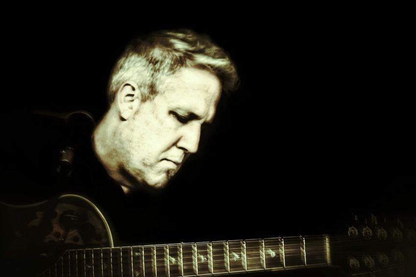 Black Background Music Guitar Musician Rock'n'Roll Pensive Double Neck Guitar
