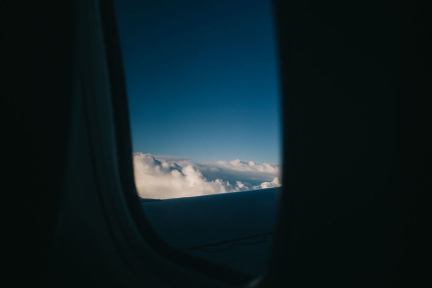 Above The Clouds Airplane Blue Cloud Cloud - Sky Day Journey Landscape Mode Of Transport Nature No People Part Of Scenics Showcase April Sky Tranquil Scene Tranquility Transportation Vehicle Interior Window Windshield Enjoy The New Normal
