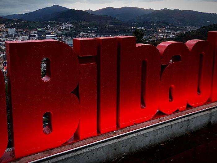 📍B I L B A O Bilbosoul Bilbografias Bilbaocity Bilbaoturismo Redlights autumn mood Mirador BasqueCountry Bilbao - Lights And Colors Mountain Architecture Nature Transportation Built Structure Outdoors City