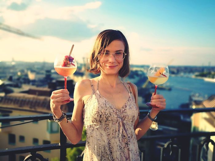 Icepop Drink Stockholm Södermalm Sweden Summer Travel Destination Vacations EyeEm Selects City Young Women Wineglass Portrait Smiling Drink Cheerful Women Champagne Flute Champagne Ladies' Night Happy Hour