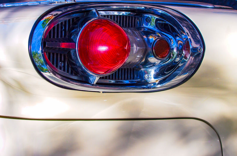 backlight Oldtimer Metal Close-up Reflection Red Car Shiny Motor Vehicle Chrome Glass - Material Transportation Vintage Car No People Lighting Equipment Silver Colored Outdoors Retro Styled