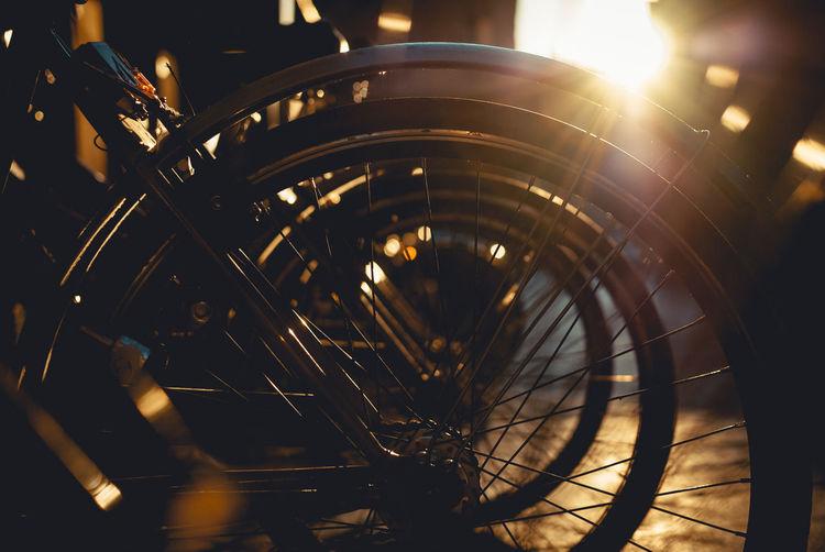 High angle view of illuminated bicycle at night