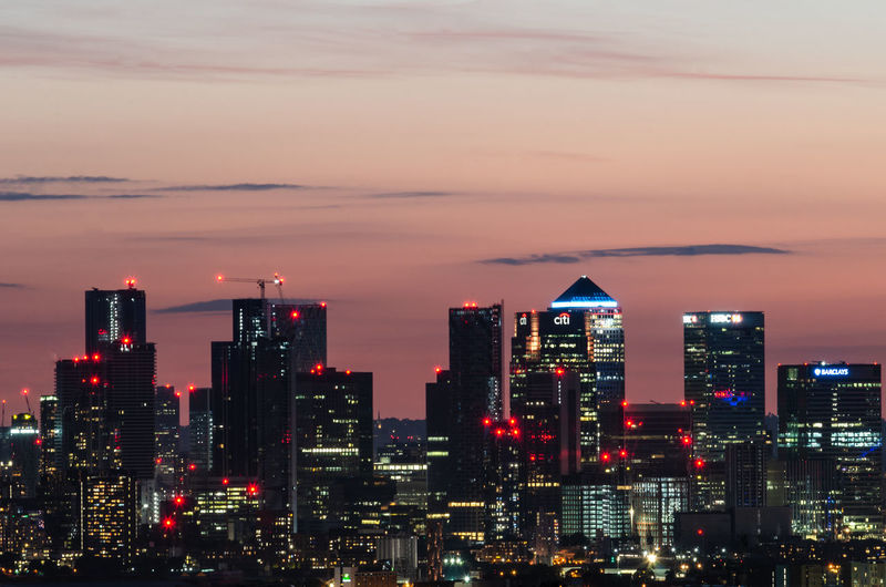 Canary wharf skyline after sunset, london