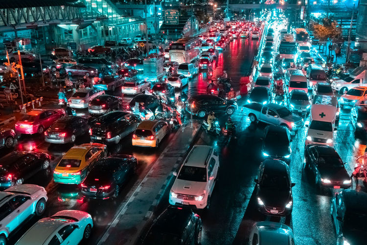 High angle view of traffic on city street at night