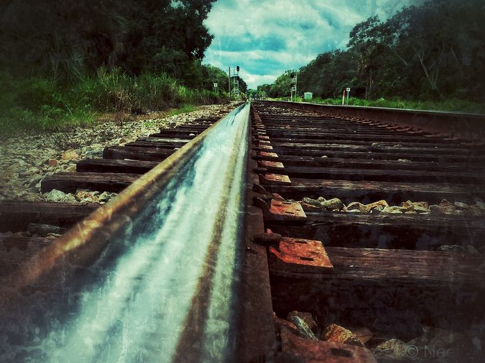 No People Outdoors Sky Train Tracks Florida Reflection Railroad Track Grunge_effect