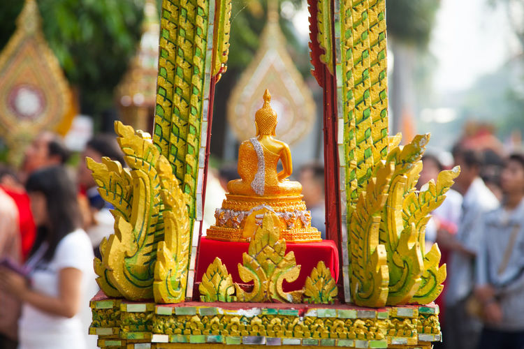 Chinese Dragon Day Focus On Foreground Gold Colored No People Outdoors Place Of Worship Religion Sculpture Spirituality Statue Yellow