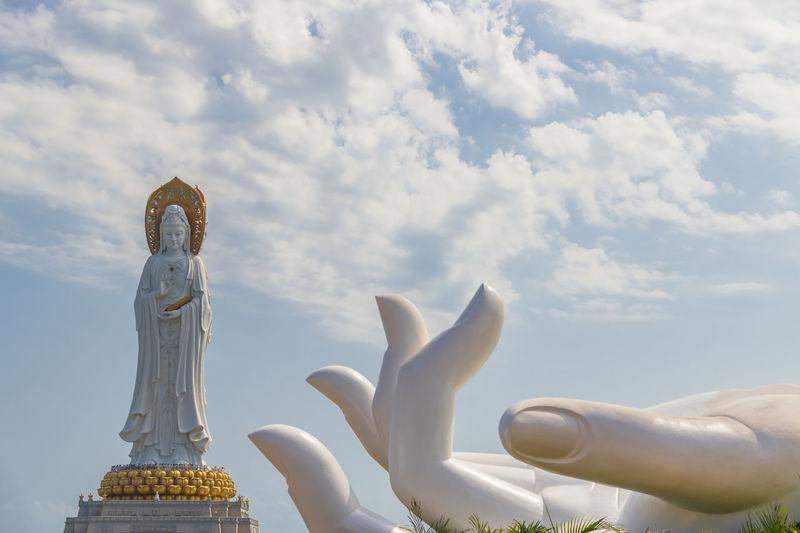 White GuanYin statue in Nanshan Buddhist Cultural Park, Sanya, Hainan Island, China. Hainan Hainanisland Hainan China Guanyin Guanyin Budha Guanyin Statue Nanshan Buddha Image Culture Culture And Tradition Sea Bay Famous Place Landmark China Worship