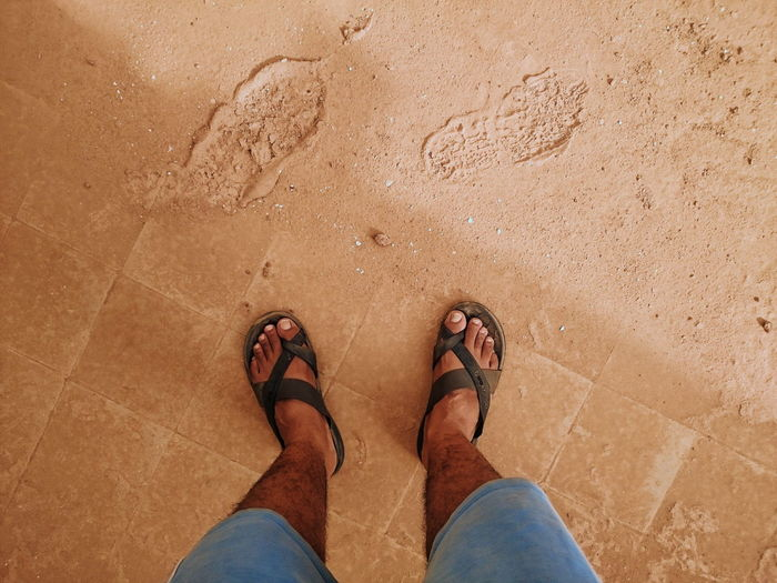 High Angle View EyeEm Best Shots EyeEm Nature Lover Eye4photography  EyeEm Gallery EyeEm Selects EyeEmBestPics EyeEm Best Edits EyeEm Best Shots - Nature Human Body Part Human Leg Human Foot Human Directly Above Footpath FootPrint Foot Shoe Sandal Pair Feet First Eyeem Photo Day Blue Standing Looking Down My Point Of View One Person Man Enjoying Life