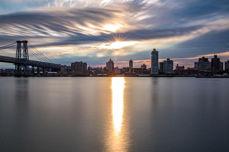 City lit up at sunset