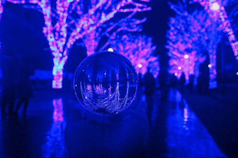 That might be a magic. Night Illuminated Nightlife Event Arts Culture And Entertainment Lighting Equipment Capture Tomorrow Nightclub Decoration Disco Ball Sphere Celebration Light - Natural Phenomenon Incidental People Reflection Architecture Blue Hanging City Indoors  Light Humanity Meets Technology Humanity Meets Technology