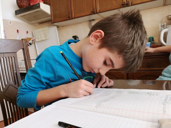 Cute boy writing in book at home