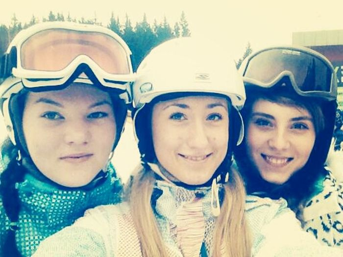 Skiing with girls.