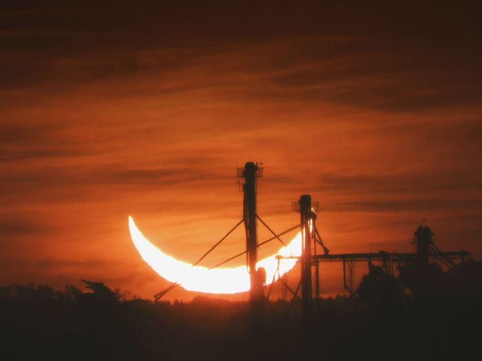 Sunset and eclipse