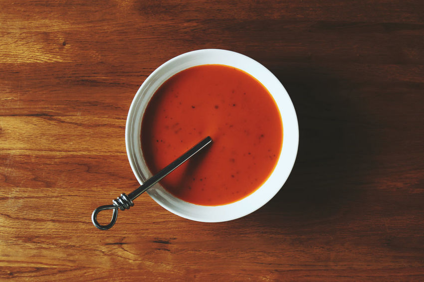 Basil Bowl Of Soup Close-up Directly Above Freshness Indoors  Oak Overhead View Refreshment Soup Still Life Table Tomato Soup Wooden