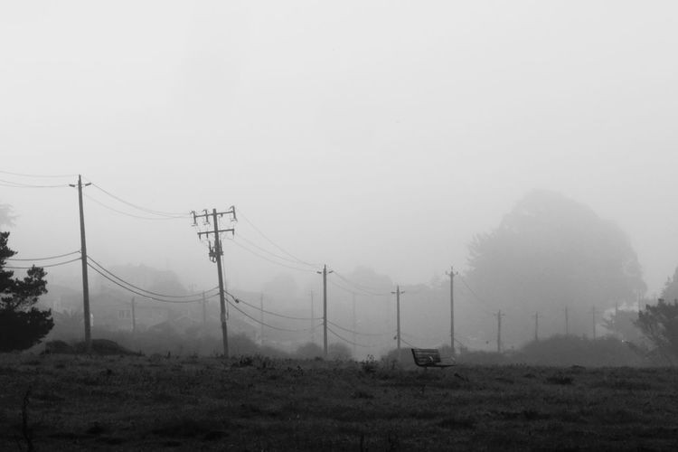 Fog Cable Electricity Pylon Electricity  Day Social Issues No People Telephone Line Winter Outdoors Landscape Blackandwhitephotography Eyeemphotography From My Point Of View Taking Photos Small Town Life