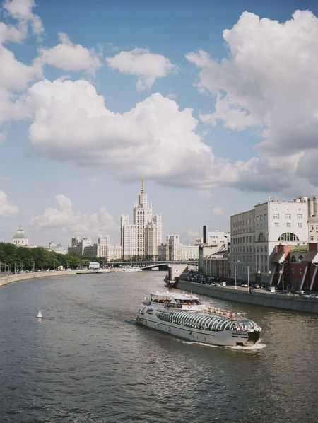 120 Film Film Moscow Architecture Boat Bronica Building Exterior Built Structure City Cityscape Cloud - Sky Day Modern Nautical Vessel No People Outdoors River Ship Sky Skyscraper Streetphotography Summer Transportation Water Waterfront
