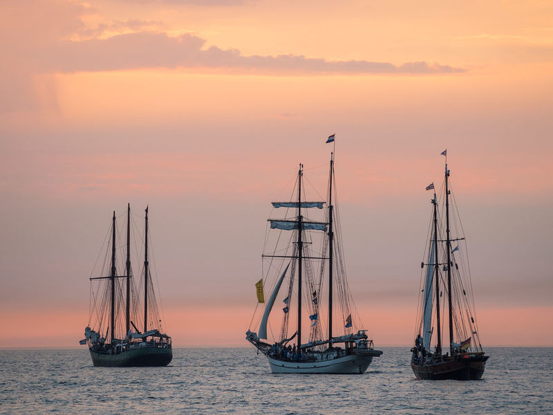 Windjammer on the Baltic Sea. Baltic Sea Beauty In Nature Coast Evening Mode Of Transport Nature Nautical Vessel No People Outdoors Rostock Sailing Ship Scenics Sea Shore Sky Sundown Sunset Tall Ship Tourism Transportation Travel Destinations Warnemuende Warnemünde Water Windjammer