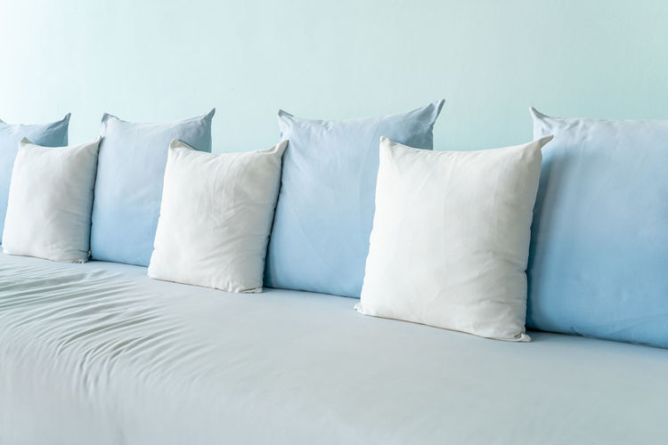 View of white sofa in bed