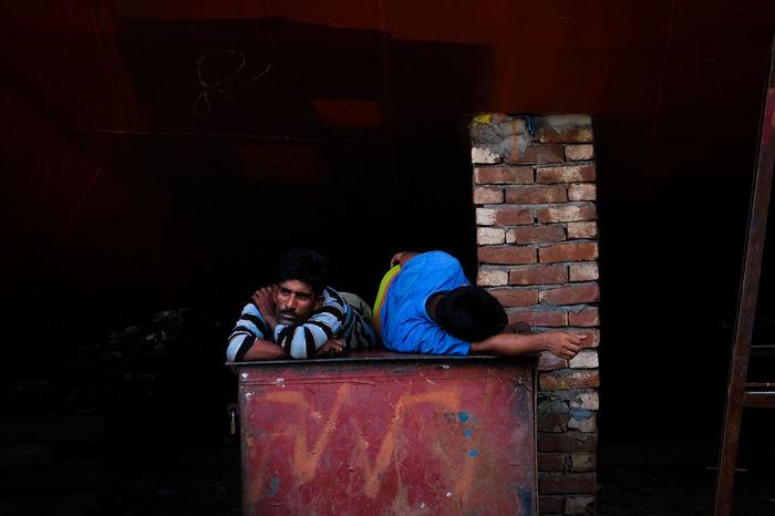 Fuji Fujifilm Fujifilm_xseries Fuji Xt20 Men Real People People Brick Brick Wall Adult Relaxation Abandoned Males  Two People Ship Yard Dhaka, Bangladesh Bangladesh Streetphotography Street EyeEm Streets Color