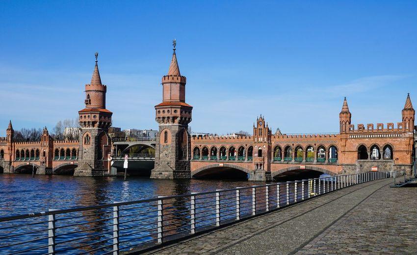 Shot of bridge against blue sky