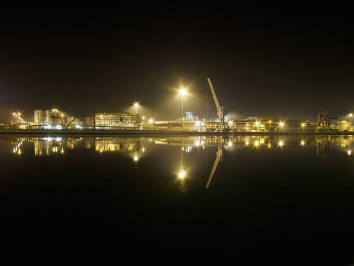 Golden Christmas Illuminated Night Reflection Water City Built Structure Building Exterior No People Outdoors Industrial Industry Industrial Landscapes Industrial Harbor Docks Landscapes Goldentank Tank Crane EyeEmNewHere